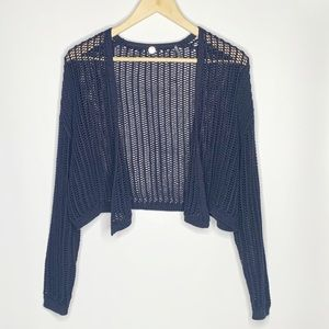 Margaret O'Leary cropped open knit shrug cardigan